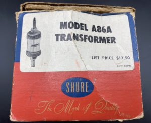 """<span class=""""entry-title-primary"""">Shure Transformer Model A86A (1950's)</span> <span class=""""entry-subtitle"""">35,-€</span>"""